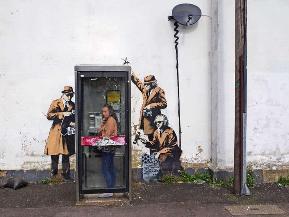 Banksy telephone wall