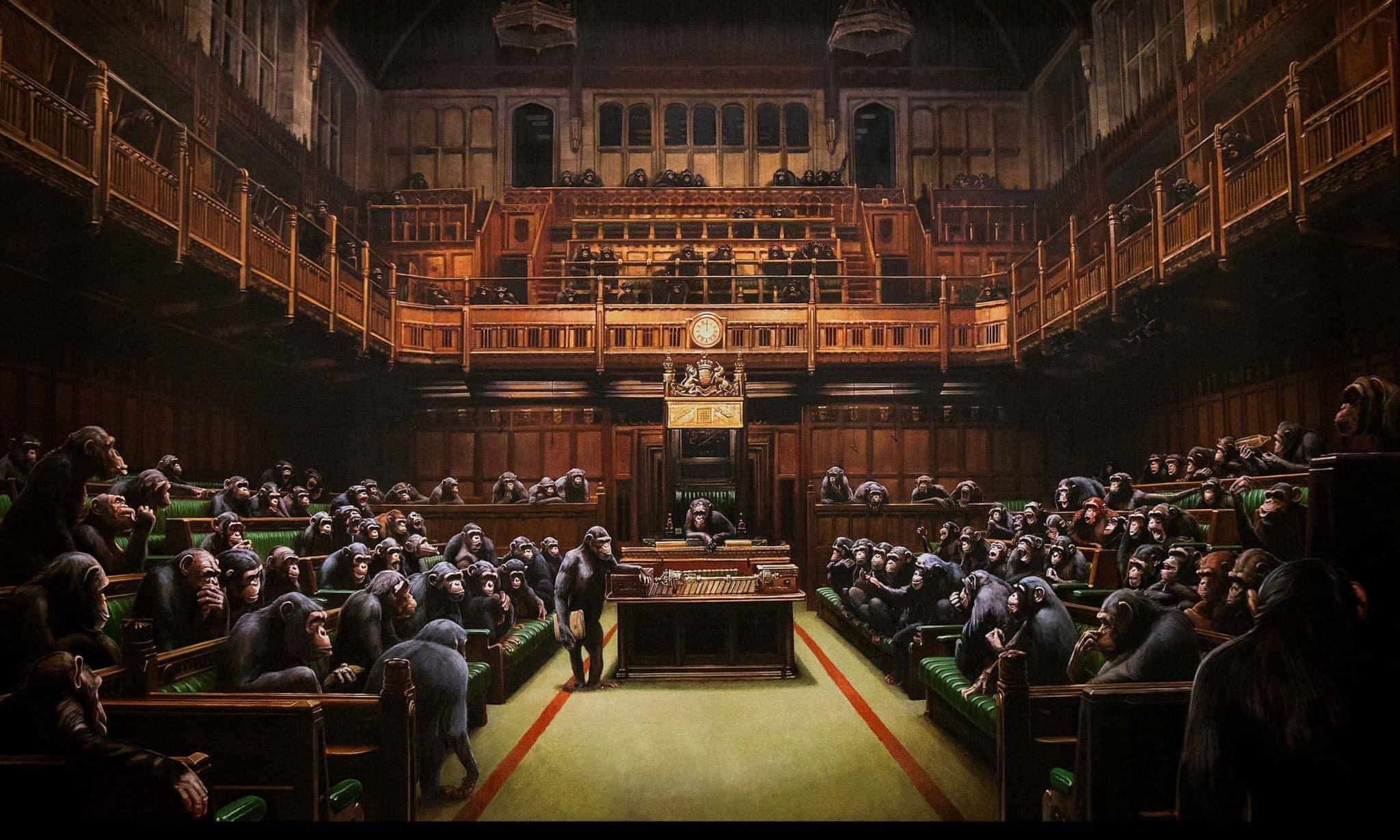 cuadro de Monos en el parlamento ingles de banksy