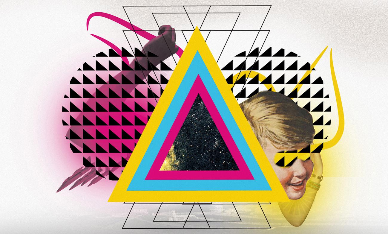 Middle boop collage digital con triangulos de colores