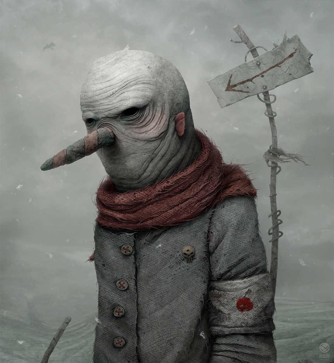 Dibujo de personaje grotesco