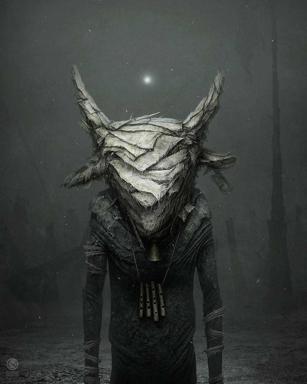 Dibujo de ser oscuro con cabeza de cabra