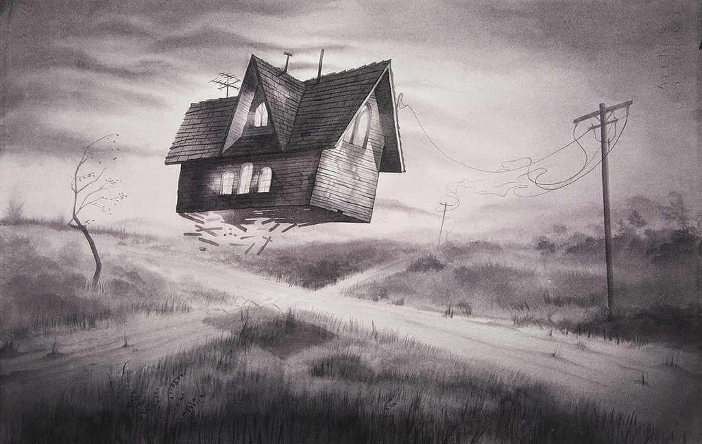 ilustración de casa voladora de annie owens