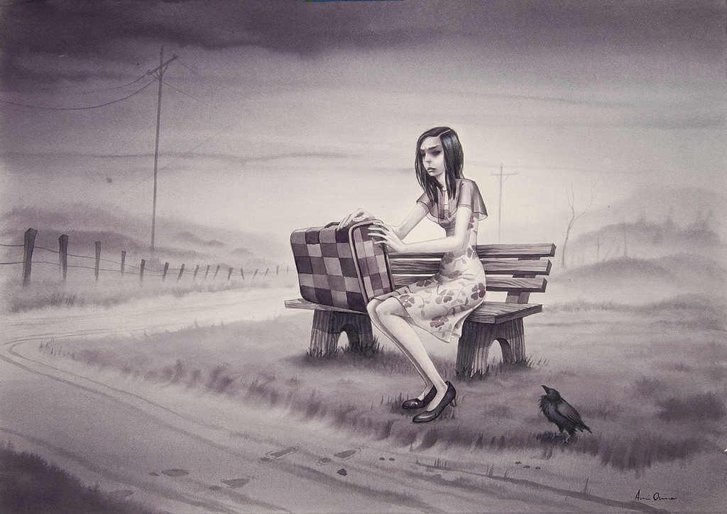 Ilustración de annie owens de mujer esperando en un banco