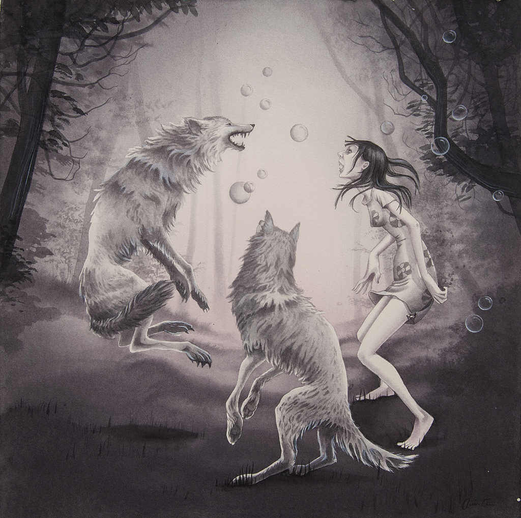 Dibujo e ilustración de lobos y niña bailando