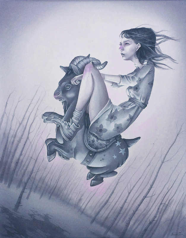 ilustración de annie owens de niña montando en una cabra
