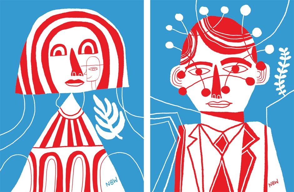 Mujer y hombre en ilustración con colores rojos y azul
