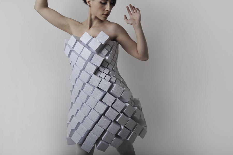vestido hecho con cuadrados