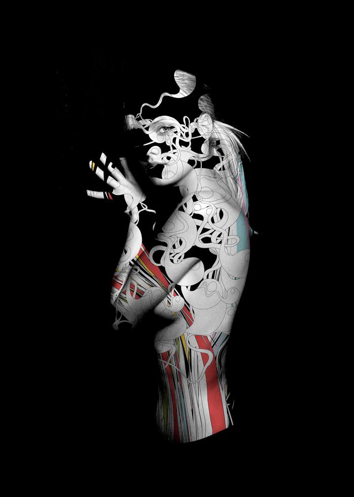 alberto seveso cuadro de mujer fotografiada e ilustrada en blanco y negro