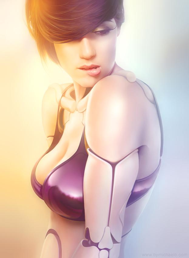 Cyborg femenino diseñado con Photoshop por michael oswald