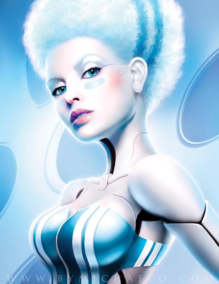 Ilustración digital de una chica con pelo blanco creada por michael oswald