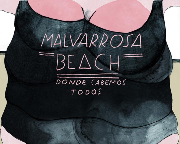 malvarosa beach ilustracion