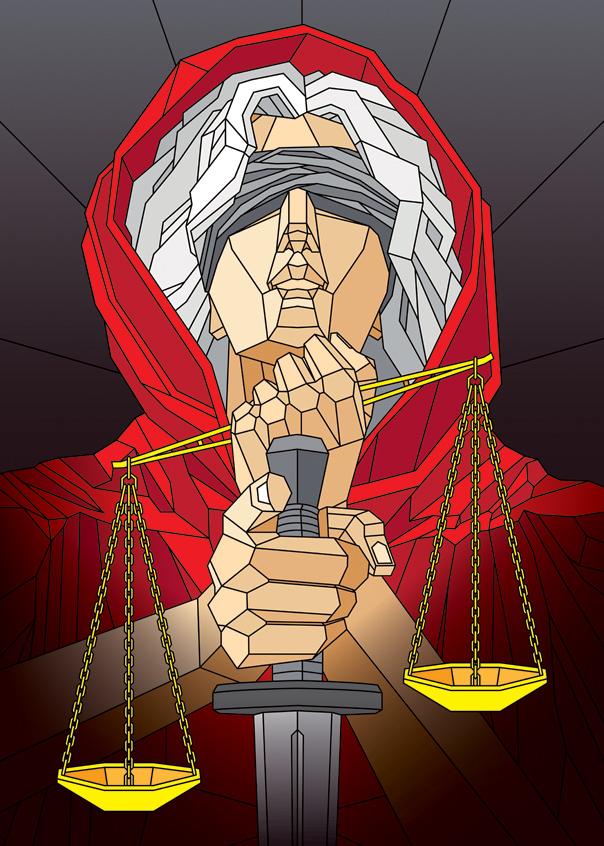 diosa de la justicia ilustrada geometrica
