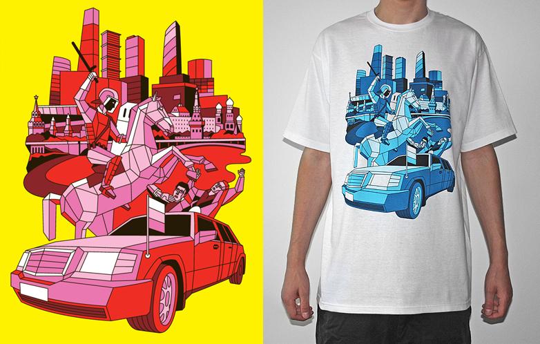 camiseta con diseño geometrico