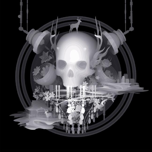 Diseño grafico de calavera con estilo fantasmal