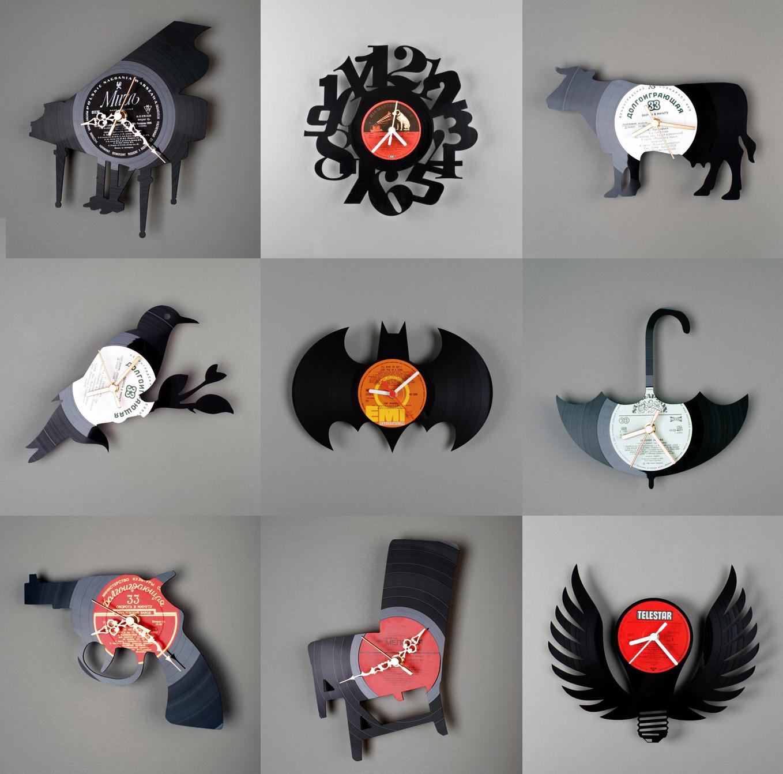 diseño de relojes con discos de vinilo