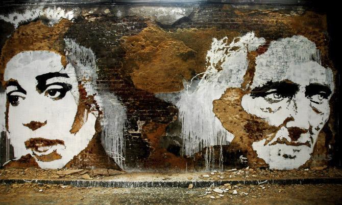 Muralñ de mujeres hecho por Alexandre Farto aka Vhils