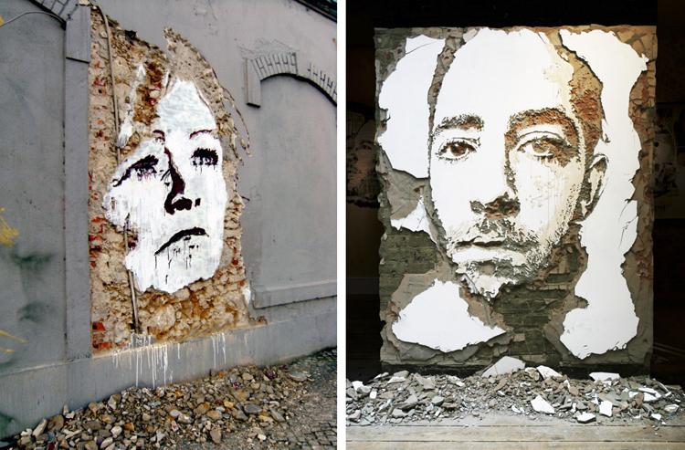 Arte urbano esculpido en pared