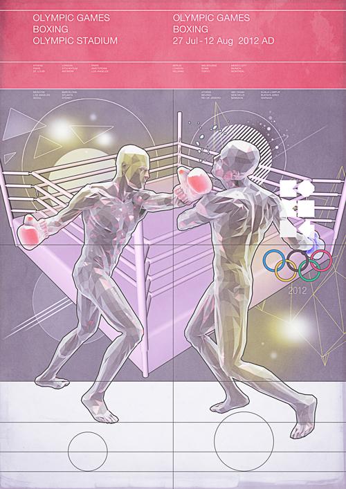 ilustracion geometrica de boxeo