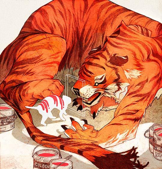 Ilustración editorial de un tigre y un gato por sachin-teng
