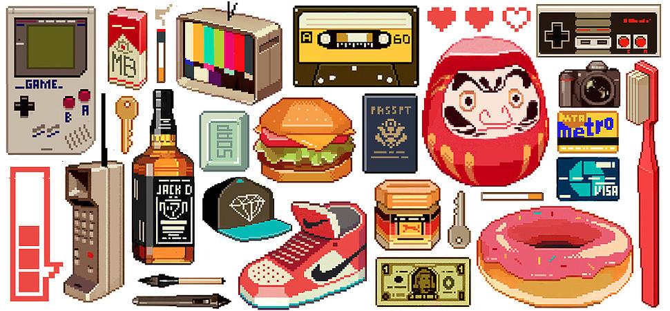 Objetos pixel art ilustrados por sachin-teng