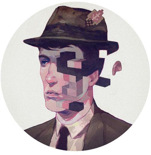 Ilustración de la cara de un hombre que conbina el pixel art y la ilustración tradicional