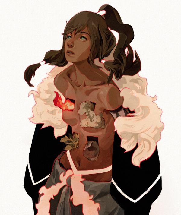 Ilustración de juna chica en llamas por el artista sachin teng