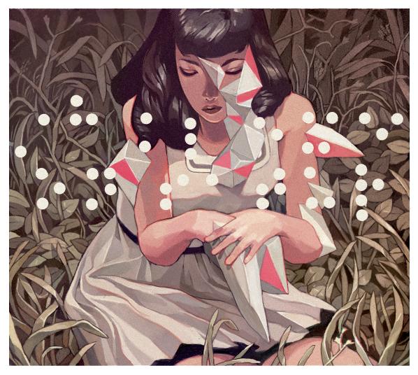 Dibujo de unamujer entre hierba por sachin teng