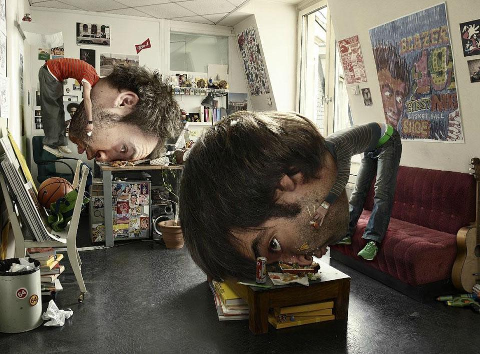 Edición digital de una fotografía con una cabeza