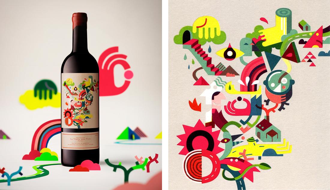 diseño de botella de vino de iván bravo
