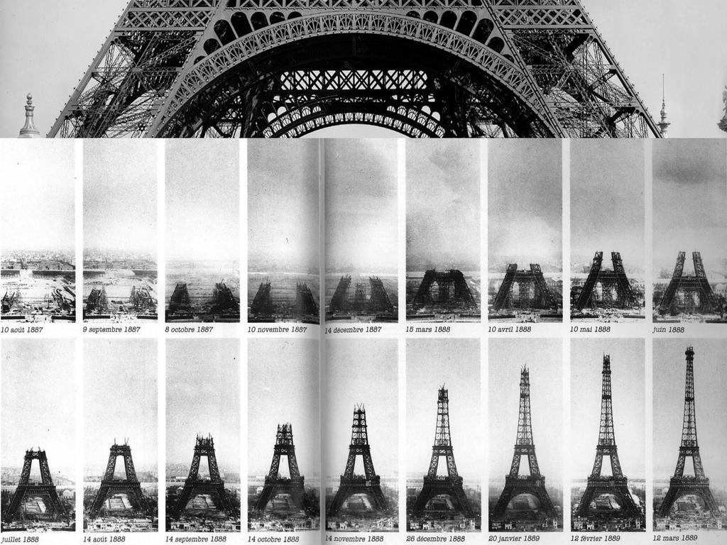 Mosaico de imágenes de la construcción de la torrer eiffel