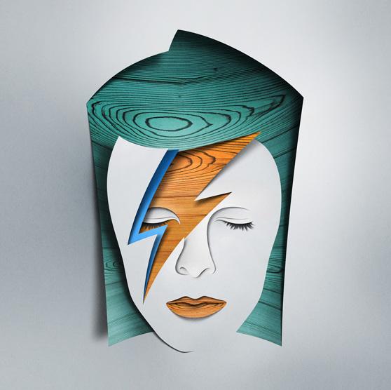 David Bowie creado con recortes de papel