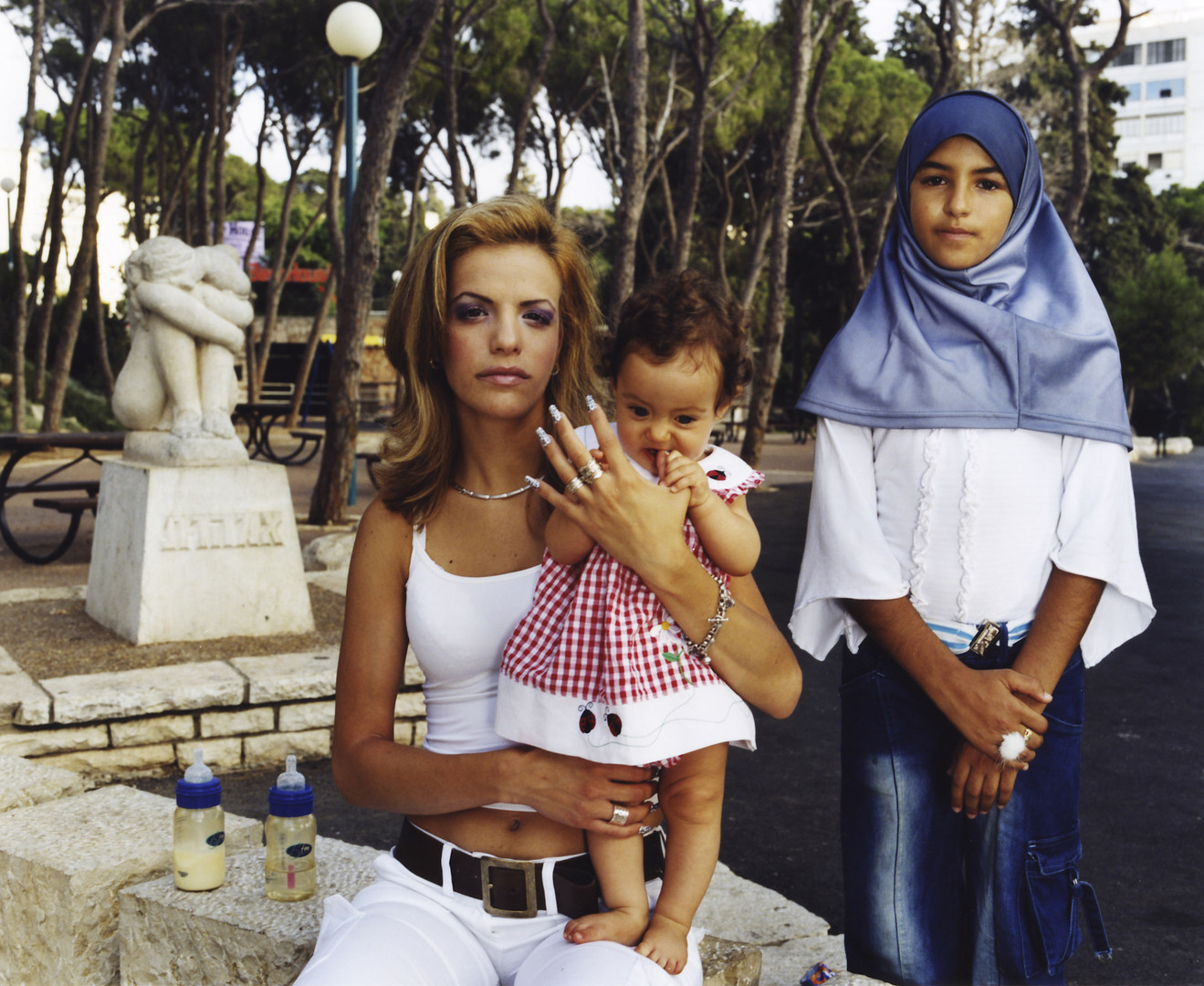 HIl with Hava and Manar, Haifa, Juy 2003