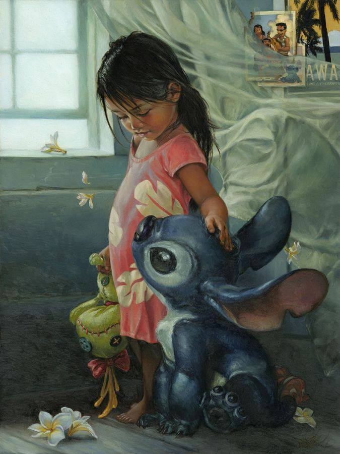 lilo and stitch en pintura al oleo