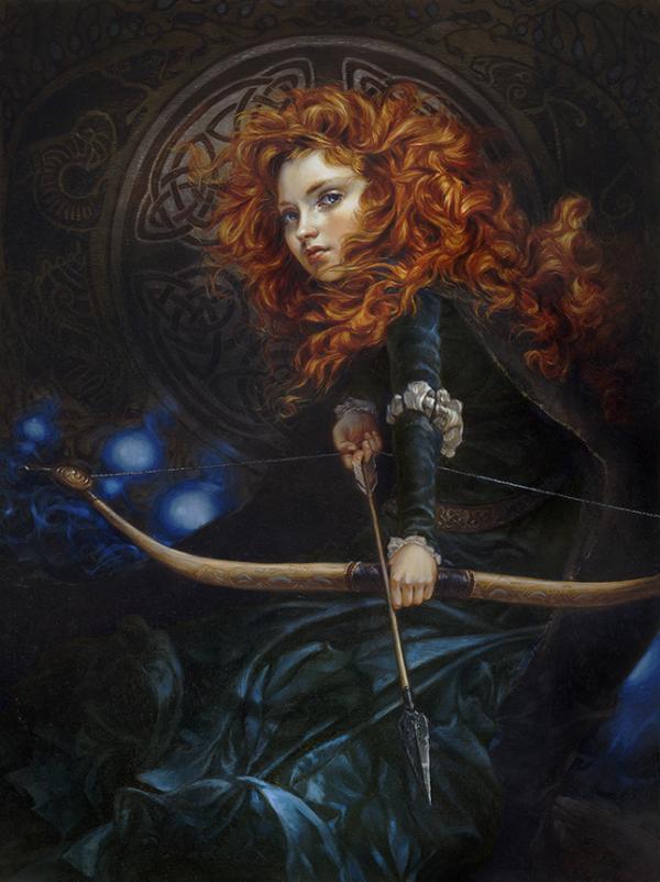 Merida protagonista de la pelicula brave de disney pintada por Headther Theurer
