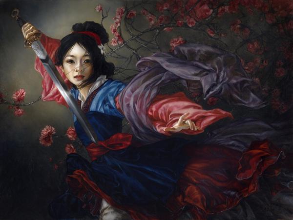 Princesa mulan de disney en pintura al oleo de Headther Theurer