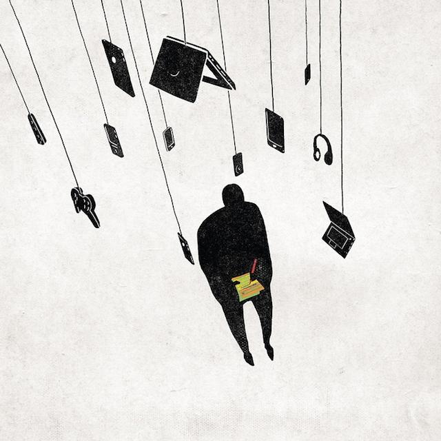 DanielStolle ilustracion satirica colgado de la tecnologia