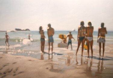 pintura de una playa totalmente desenfocada