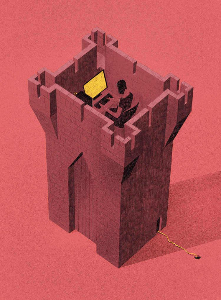 ilustracion satirica encerrados en una torre de castillo