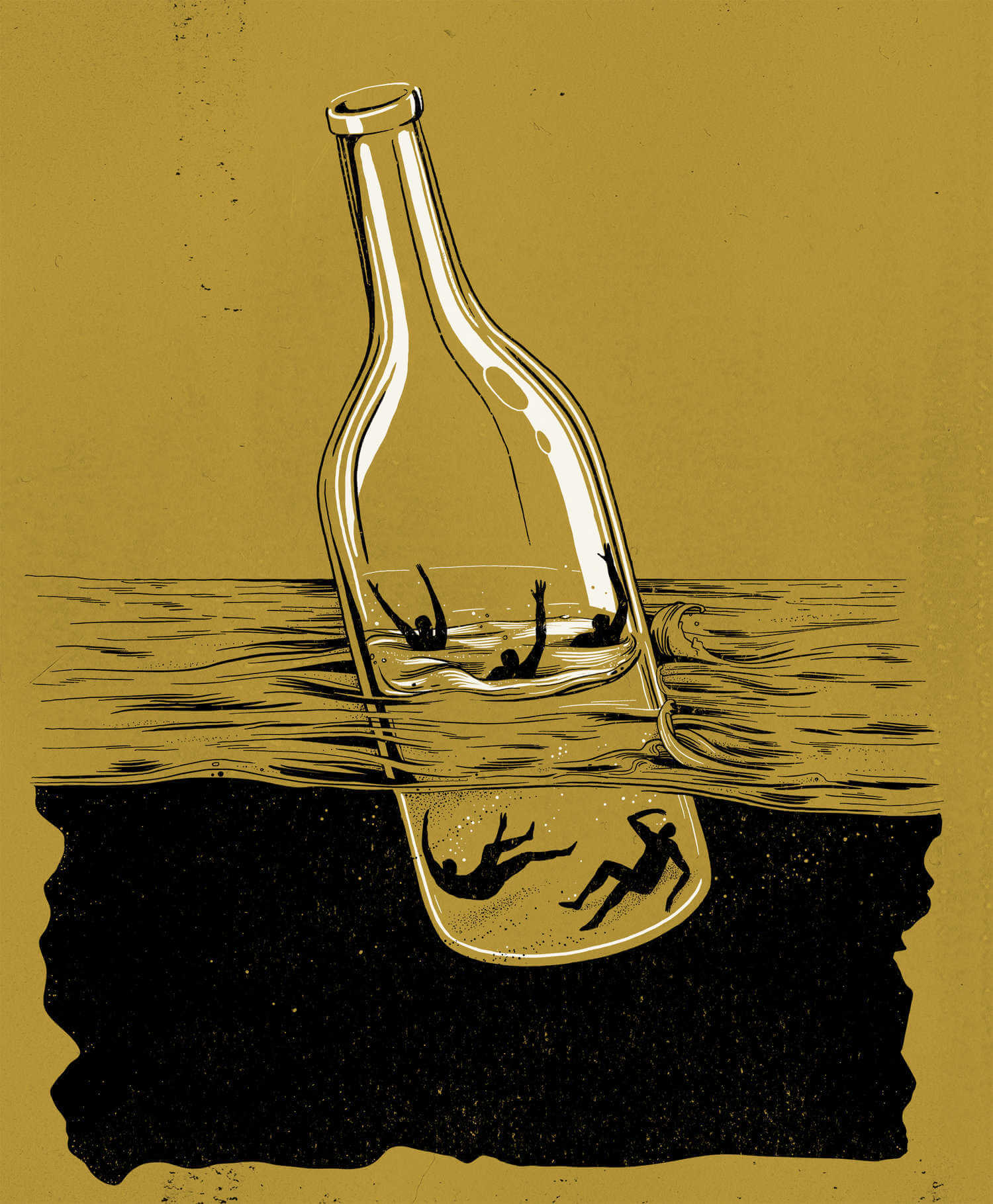 ilustracion satirica ahogados en una botella