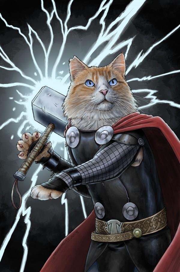 Thor-gatos-superheroes-jenny-parks-oldskull