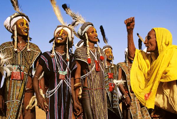 Wodaabe Charm Dancers and Yellow Veiled Elder, Niger