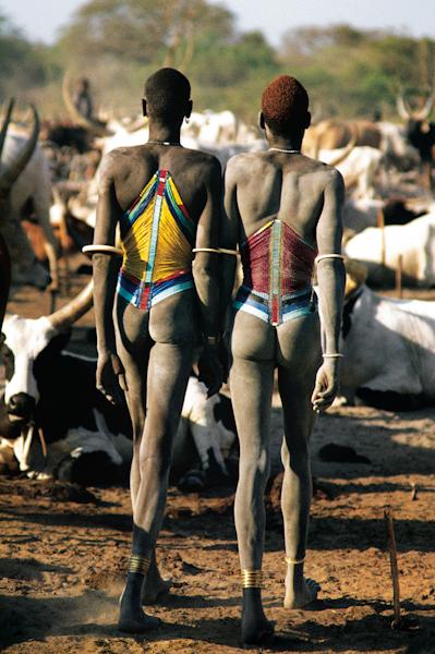 Dinka Men in Beaded Corsets, South Sudan