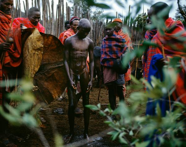 Maasai Intiate Cleansed at his Circumcision, Kenya