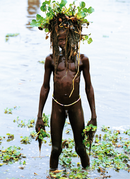 Dinka Boy with Water Narcissus Mask
