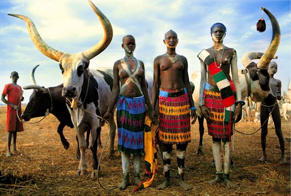 Dinka Family with Modern Dress