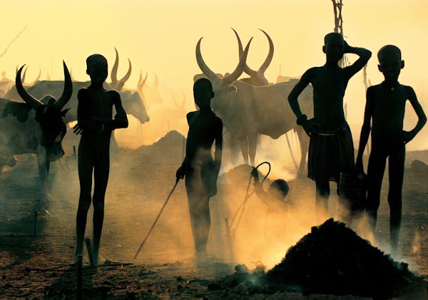 Dinka Children in Cattle Camp
