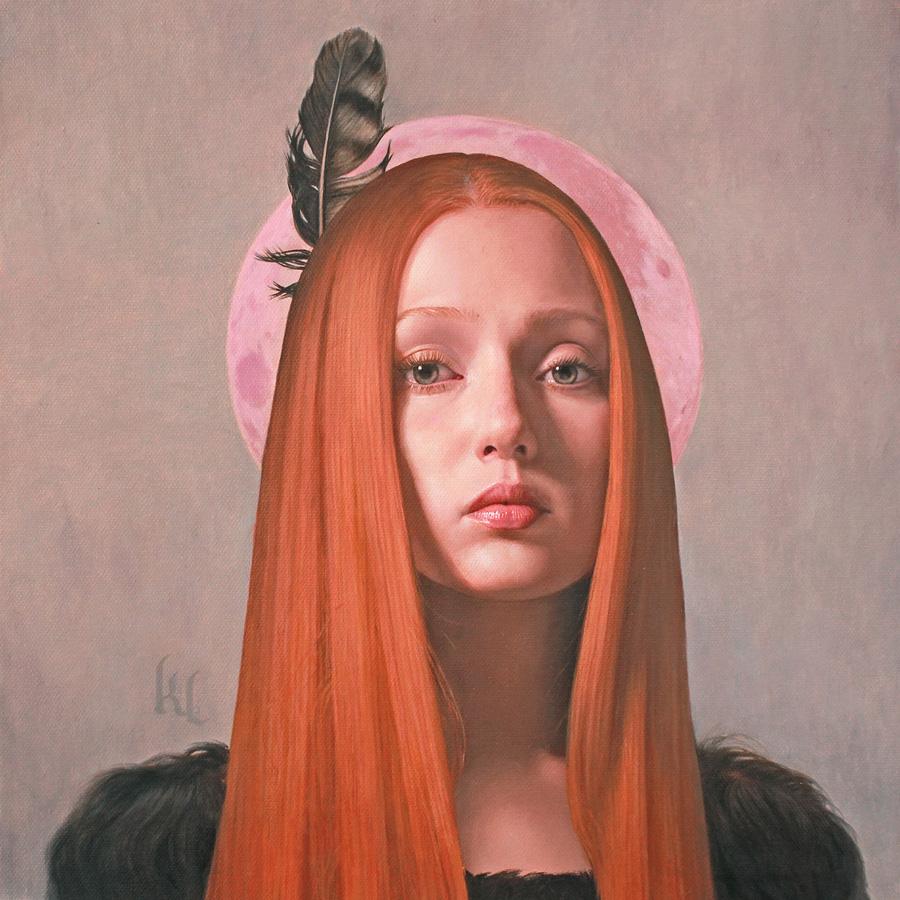 Pintura al çoleo de una chica con una pluma en la cabeza pintada por Kris lewis