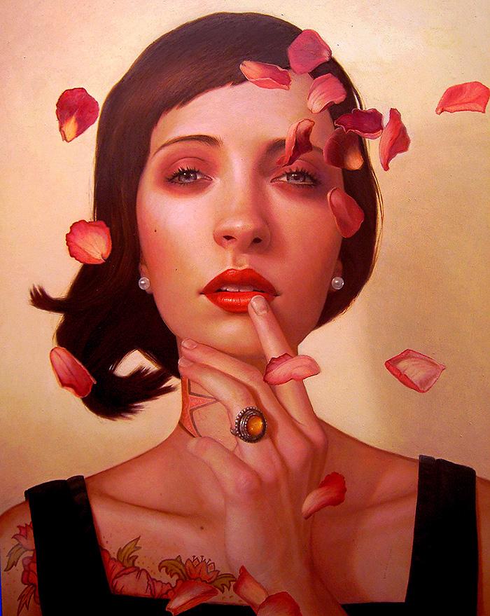 pintura de rostro de una mujer hecha por Kris lewis