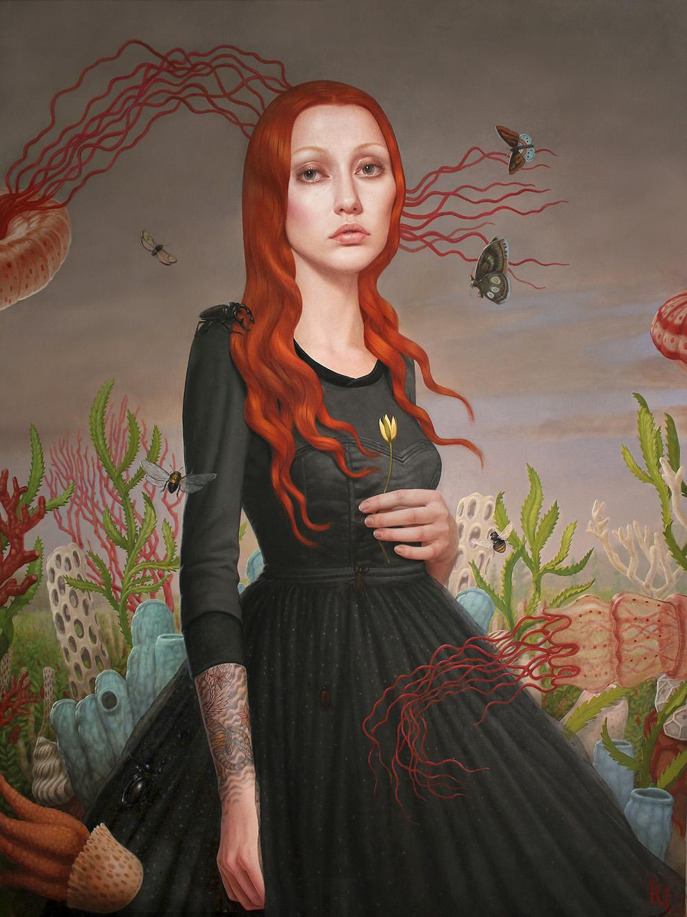 Pintura al oleo de una mujer tatuada entre naturaleza po Kris lewis