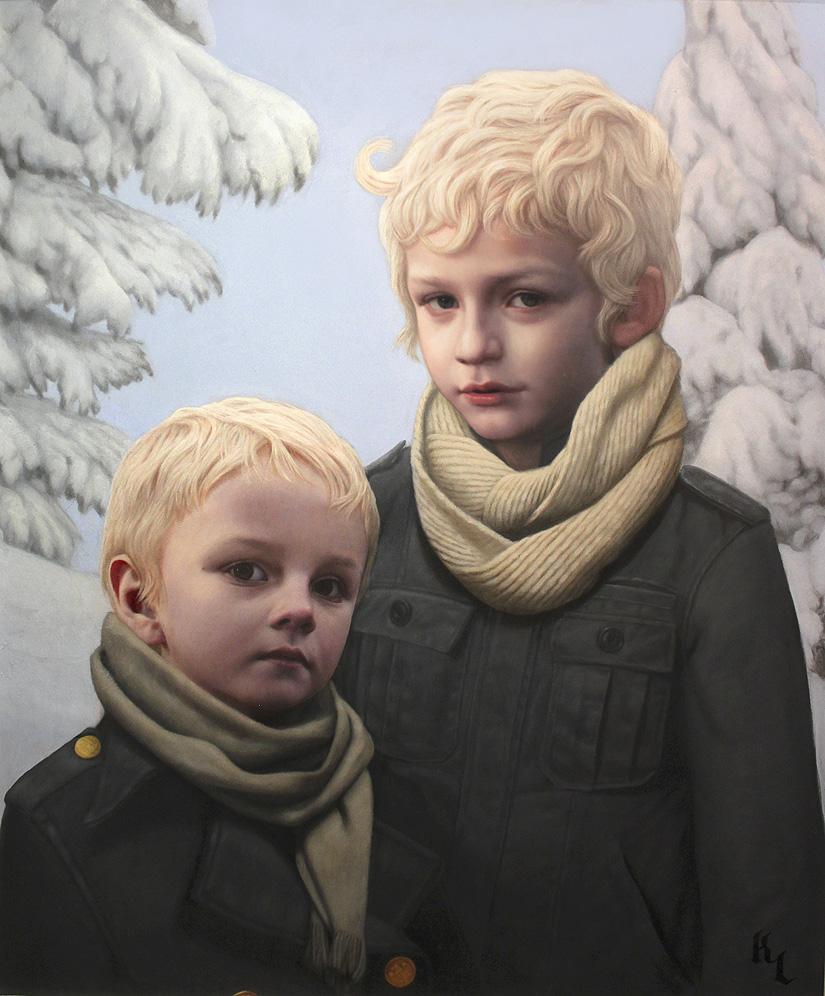 Pintura al oleo de dos niños rubios entre nieve